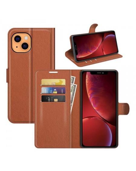 læder flipcover iphone 13 mini brun