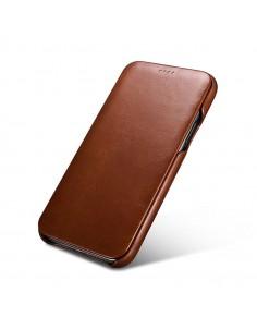iPhone 11 flipcover i ægte brun læder