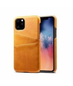 iPhone 11 læder cover lys brun med kort holder