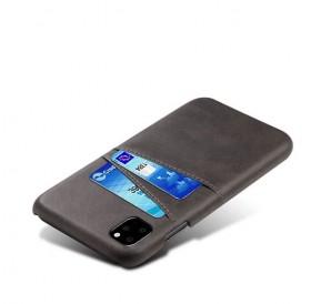 iPhone 11 læder cover i sort med kort holder