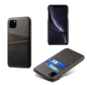 iPhone 11 læder cover i sort med kort holder