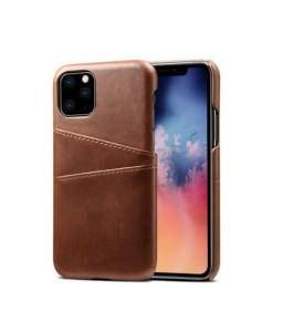 iPhone 11 læder cover mørk brun med kort holder