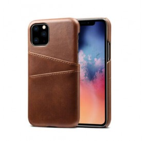 iPhone 11 læder cover mørk brun med kort holder
