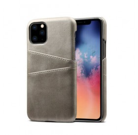 iPhone 11 læder cover lys grå med kort holder