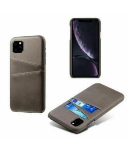 iPhone 11 læder cover lys grå med kort holder