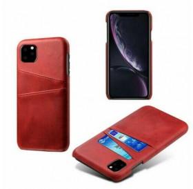 iPhone 11 læder cover i rød med kort holder