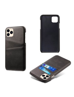 iPhone 12 læder cover i sort med kort holder