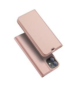 iPhone 12 læder flip cover / pung i Rosa