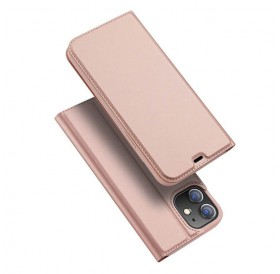 iPhone 12 læder flip cover / pung i Rosa