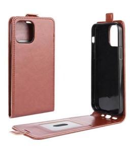 iPhone 12 mini vertical flip læder cover brun
