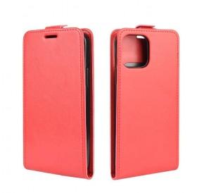 iPhone 12 mini vertical flip læder cover rød