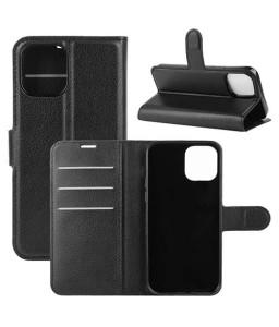 iPhone 12 mini læder flip cover / pung i sort