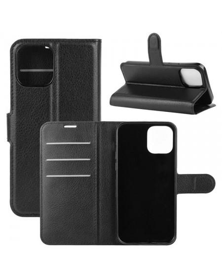 læder flipcover iphone 12 sort