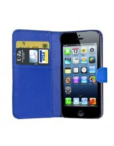 iPhone 5 læder etui blå incl. Stylus og skærmbeskytter