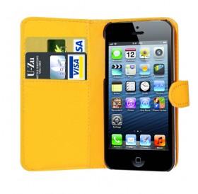 iPhone 5 læder etui gul incl. stylus og skærmbeskytter