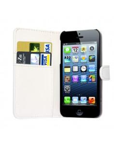 iPhone 5 læder etui hvid incl. stylus og skærmbeskytter