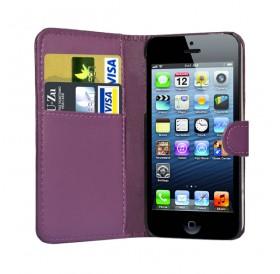 iPhone 5 læder etui lilla incl. stylus og skærmbeskytter