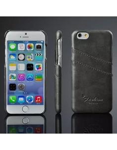 iPhone 6 hard back cover i sort læder med kort holder