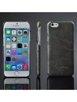 iPhone 8 læder cover i sort med kort holder