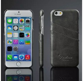 iPhone 6 hard back cover i sort læder med kort holder