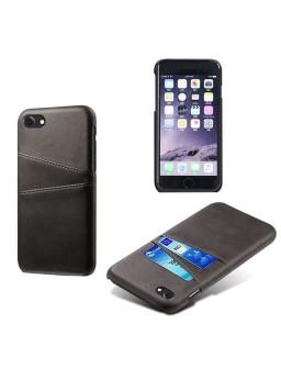 iPhone 7 hard back cover i læder sort med kort holder