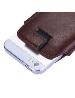 iPhone 8 læder etui med hjælpestrop i brun