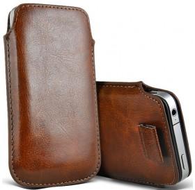 iPhone 5 læder etui med hjælpestrop i brun