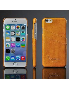iPhone 6 hard back cover i læder lys brun med kort holder