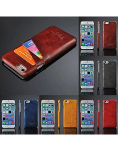 iPhone 6 hard back cover i læder lys brun med kort holder